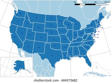 United States Map Abbreviations Images, Stock Photos ...