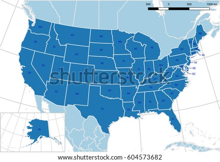 United States Map Detailed Vector Editable Stock Vector Royalty