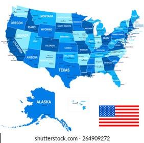 United States - map, flag and navigation icons - illustration