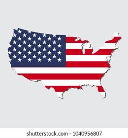 United States Map Flag, vector illustration