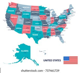 United States map and flag - vector illustration