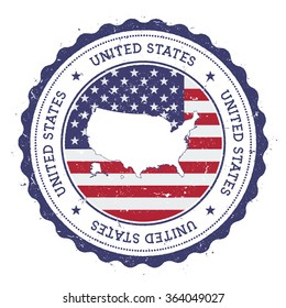 United States map and flag in vintage rubber stamp of country colours. Grungy travel stamp with map and flag of United States, vector illustration