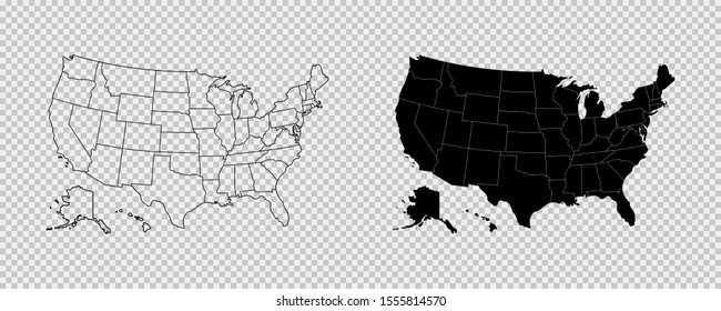 United states map. High detailed USA map. Linear icon. Transparent background. Vector isolated elements. Usa map icon line symbol. EPS 10