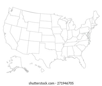 United States map, High detailed border