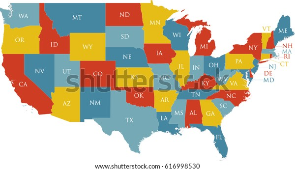 United States Map Labeled Postal Abbreviations Stock Vector ...
