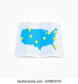 United States Map with Location Pins