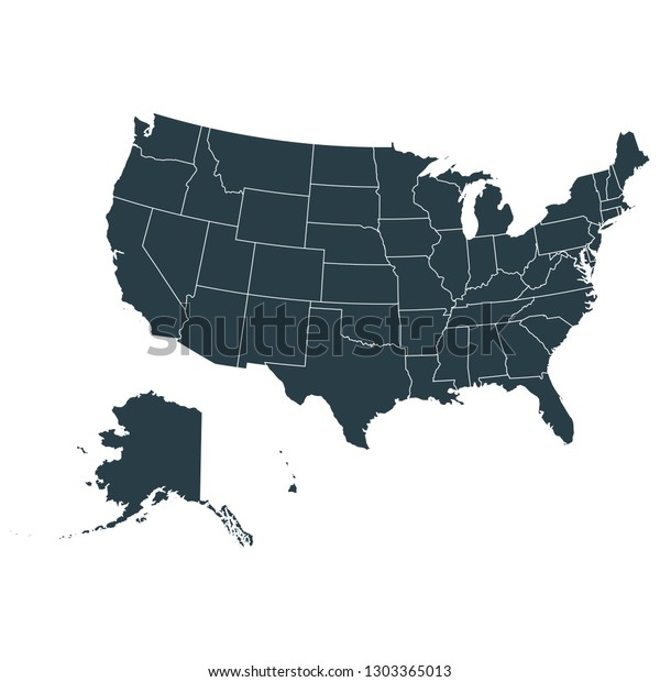 United States Map On White Background Stock Vector (Royalty ...