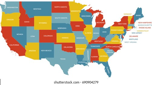 Us Map State Labels United States Map State Labels Stock Vector (Royalty Free) 690904279