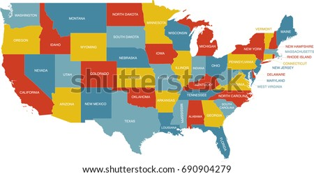 United States Map State Labels Stock Vector (Royalty Free) 690904279 ...