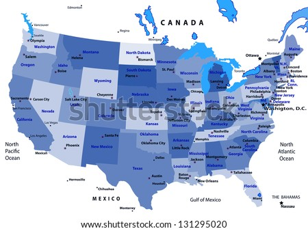 United States Map Vector States Capital Stock Vector (Royalty Free ...
