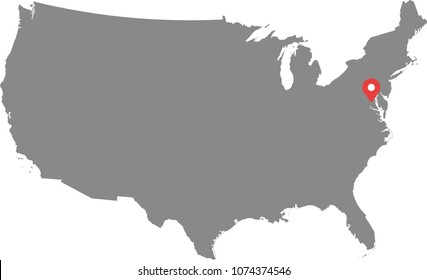 Usa Map Vector Outline Capital Location Stock Vector Royalty Free