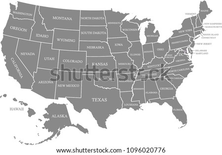 United States Map Vector Outline Gray Stock Vector (Royalty Free ...