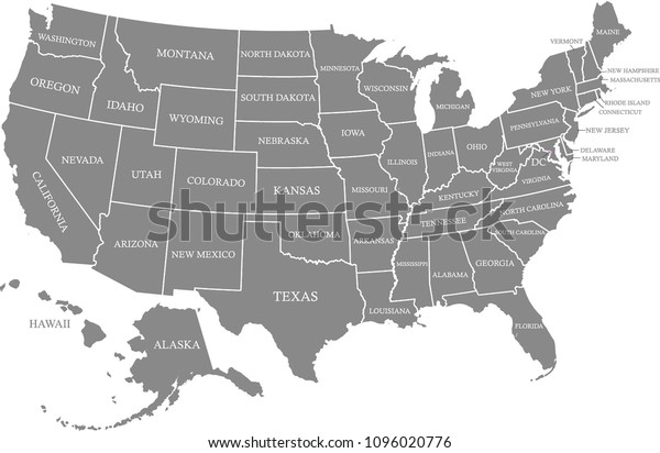 United States Map Vector Outline Gray Stock Vector (Royalty ...