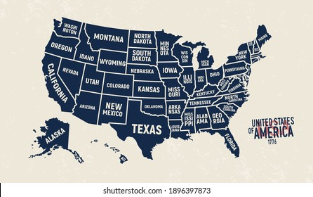 United States map. Vintage USA map with state names. Poster of US map with grunge texture and emblem. United States of America vintage print for t-shirt. Trendy Hipster design. Vector illustration