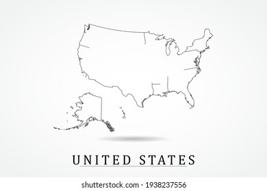 United states Map- World Map International vector template with thin black outline or outline graphic sketch style and black color isolated on white background - Vector illustration eps 10