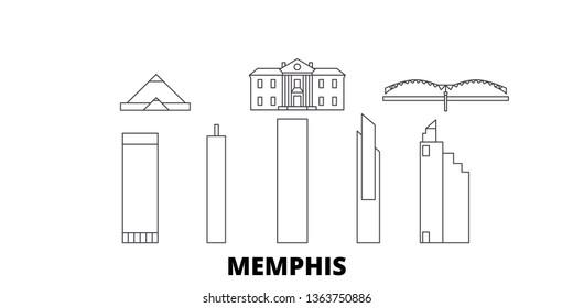 United States, Memphis line travel skyline set. United States, Memphis outline city vector illustration, symbol, travel sights, landmarks.