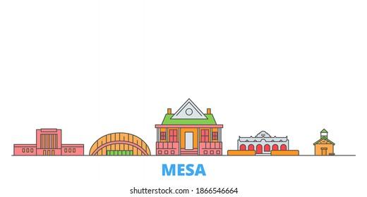 United States, Mesa line cityscape, flat vector. Travel city landmark, oultine illustration, line world icons