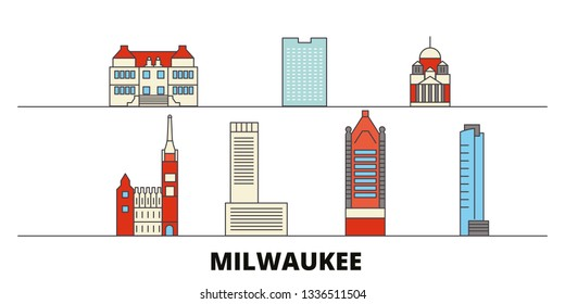 United States, Milwaukee City flat landmarks vector illustration. United States, Milwaukee City line city with famous travel sights, skyline, design.