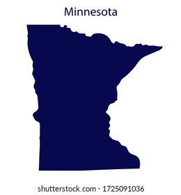 United States Minnesota. Dark blue silhouette of the state