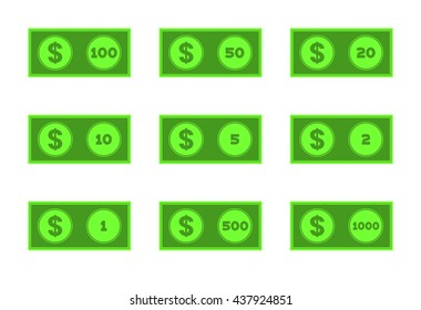 United States money icon set. Every denomination of US currency. Nine flat vector drawings dollar bills isolated on white