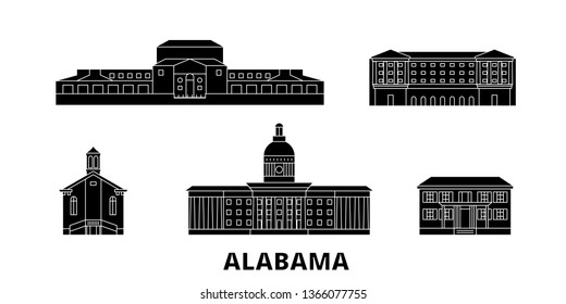 United States, Montgomery flat travel skyline set. United States, Montgomery black city vector panorama, illustration, travel sights, landmarks, streets.