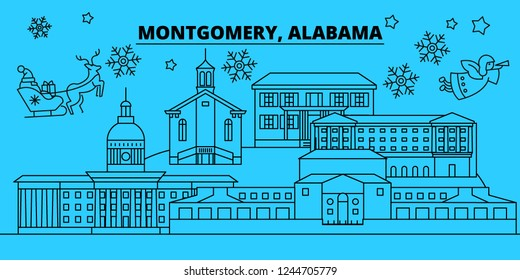 United States, Montgomery winter holidays skyline. Merry Christmas, Happy New Year decorated banner with Santa Claus.United States, Montgomery linear christmas city vector flat illustration