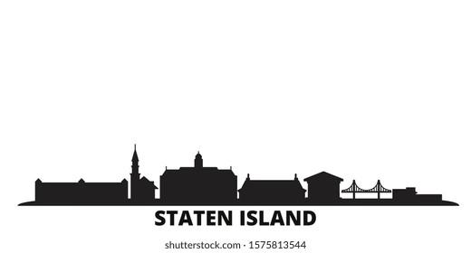 United States, New York Staten Island city skyline isolated vector illustration. United States, New York Staten Island travel black cityscape