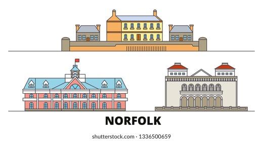 United States, Norfolk flat landmarks vector illustration. United States, Norfolk line city with famous travel sights, skyline, design.