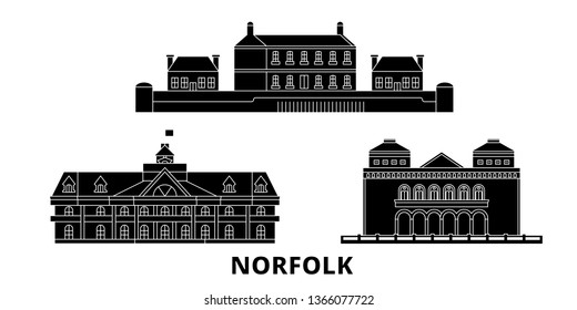 United States, Norfolk flat travel skyline set. United States, Norfolk black city vector panorama, illustration, travel sights, landmarks, streets.