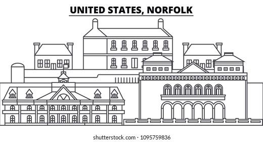 United States, Norfolk line skyline vector illustration. United States, Norfolk linear cityscape with famous landmarks, city sights, vector landscape.