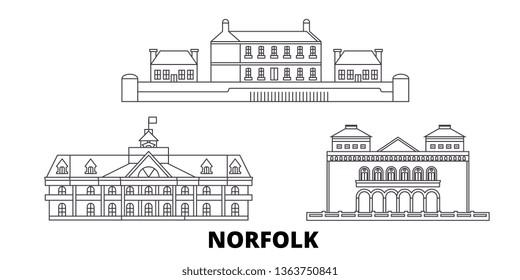 United States, Norfolk line travel skyline set. United States, Norfolk outline city vector illustration, symbol, travel sights, landmarks.