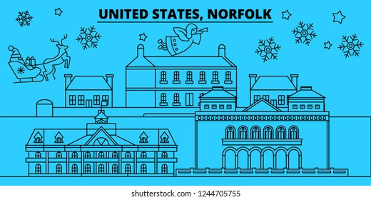 United States, Norfolk winter holidays skyline. Merry Christmas, Happy New Year decorated banner with Santa Claus.United States, Norfolk linear christmas city vector flat illustration