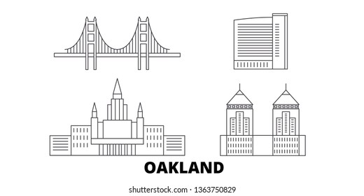 United States, Oakland line travel skyline set. United States, Oakland outline city vector illustration, symbol, travel sights, landmarks.