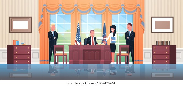 United States president sitting workplace signing law act document with female secretary and male bodyguards USA national flag oval office white house cabinet interior horizontal