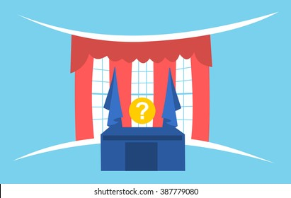 United States presidential election - simple graphics of president's office and question mark instead of politician. Metaphor of duel and fight between candidates