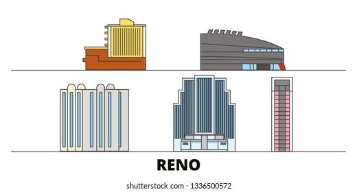United States, Reno flat landmarks vector illustration. United States, Reno line city with famous travel sights, skyline, design.