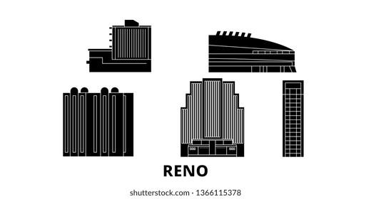 United States, Reno flat travel skyline set. United States, Reno black city vector illustration, symbol, travel sights, landmarks.