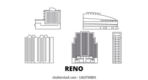 United States, Reno line travel skyline set. United States, Reno outline city vector illustration, symbol, travel sights, landmarks.