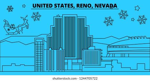 United States, Reno, Nevada winter holidays skyline. Merry Christmas, Happy New Year decorated banner with Santa Claus.United States, Reno, Nevada linear christmas city vector flat illustration