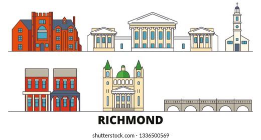 United States, Richmond flat landmarks vector illustration. United States, Richmond line city with famous travel sights, skyline, design.