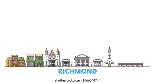 United States, Richmond line cityscape, flat vector. Travel city landmark, oultine illustration, line world icons