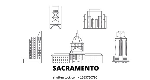 United States, Sacramento line travel skyline set. United States, Sacramento outline city vector illustration, symbol, travel sights, landmarks.