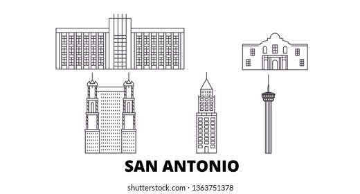 United States, San Antonio line travel skyline set. United States, San Antonio outline city vector illustration, symbol, travel sights, landmarks.