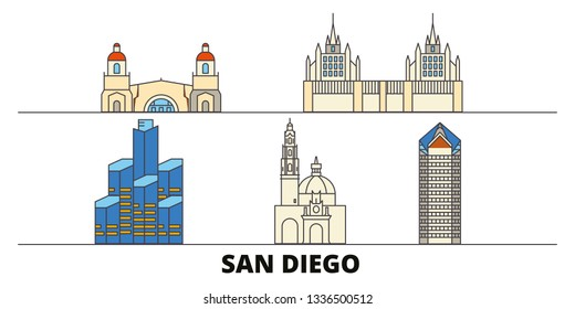 United States, San Diego flat landmarks vector illustration. United States, San Diego line city with famous travel sights, skyline, design.