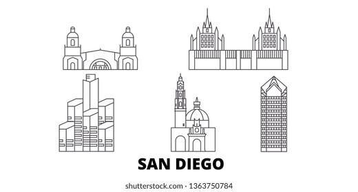 United States, San Diego line travel skyline set. United States, San Diego outline city vector illustration, symbol, travel sights, landmarks.