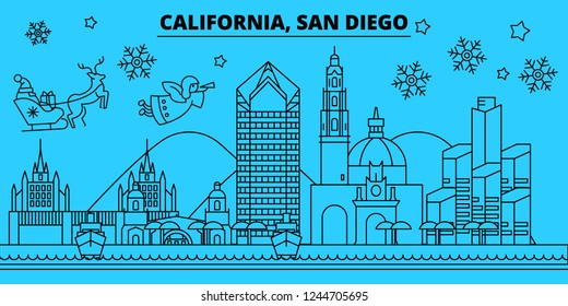 United States, San Diego winter holidays skyline. Merry Christmas, Happy New Year decorated banner with Santa Claus.United States, San Diego linear christmas city vector flat illustration