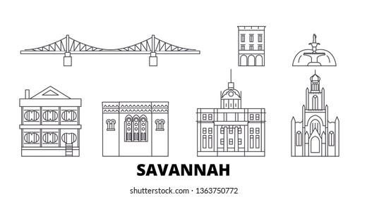 United States, Savannah line travel skyline set. United States, Savannah outline city vector illustration, symbol, travel sights, landmarks.