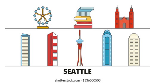 United States, Seattle flat landmarks vector illustration. United States, Seattle line city with famous travel sights, skyline, design.
