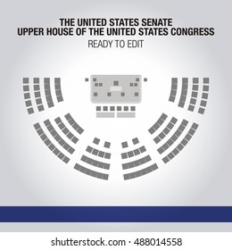 The United States Senate. Upper house of the United States Congress. Seating Plan. Editable seats.