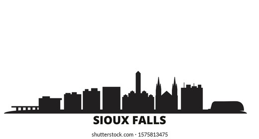 United States, Sioux Falls city skyline isolated vector illustration. United States, Sioux Falls travel black cityscape